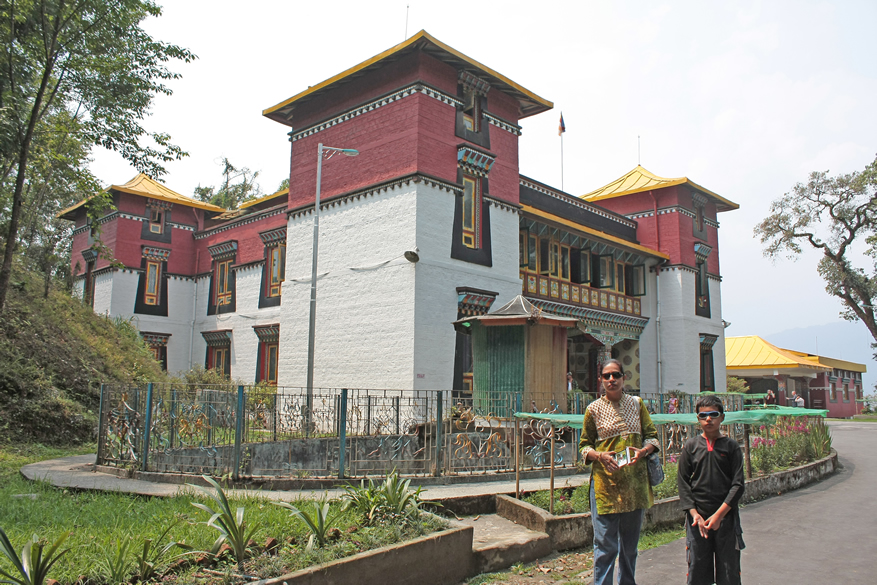 Namgyal Institute of Tibetology where vast collection of instruments made from human bones are displaced with wonderful wall paintings as you see in the next picture. It is a storehouse of Tibetan literature and artifacts.