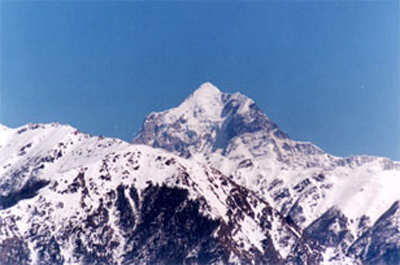 A view of Dronagiri 7066 mtrs taken from Auli
