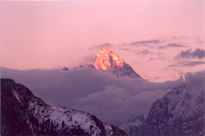 A view of Nandadevi 7817 mtrs taken from Auli
