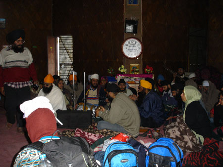 Inside the Gurdwara - devotees singing.