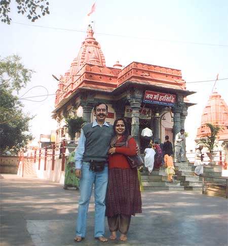 Har Siddhi mandir is one of the prominent temples of Ujjain. The image of goddess Harsiddhi painted with vermilion is located between the images of Mahalaxmi & Mahasaraswati here. Shreeyantra is also located here. According to tradition, this is the real harsiddhi. In tantric tradition, it is regarded as a siddha-peth. You see me and wifey in front of the temple.