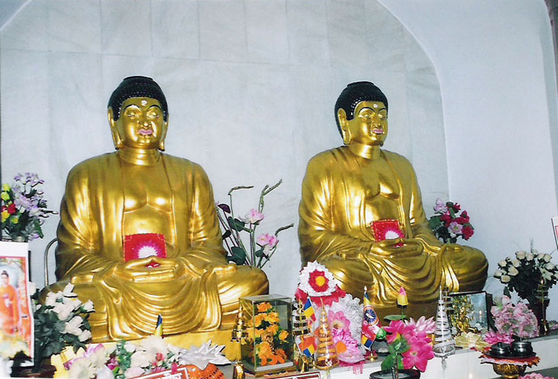 You see two icons. The right hand side is Gautama Buddha who is already born. The left hand side is Maitra Buddha who is yet to be born.