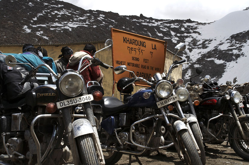 Taking a break at Khardunga La 18380 feet. It is the highest motorable road in the world. Also visit Kibber Village 4205 mtrs in Spiti Valley of Himachal Pradesh. It is the 2nd highest permanently inhabited village of the world connected by a motorable road.