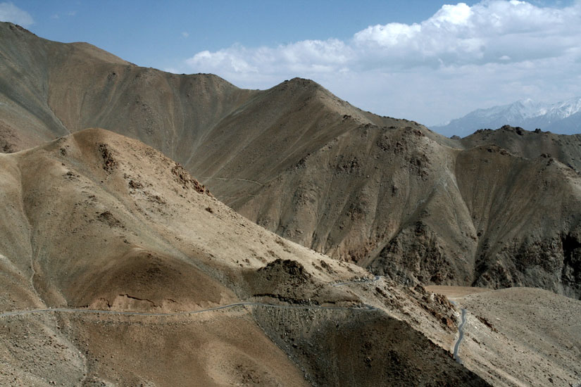 Dry and barren mountains is the landscape for the most of the Manali Leh drive.