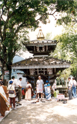 A temple island inside the lake.