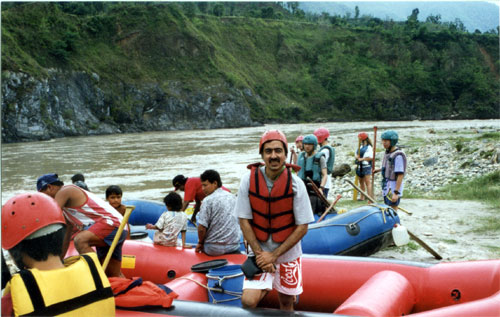 Getting ready to go Rafting on the Trishuli river. Trishuli is enroute from Kathmandu from Pokara.