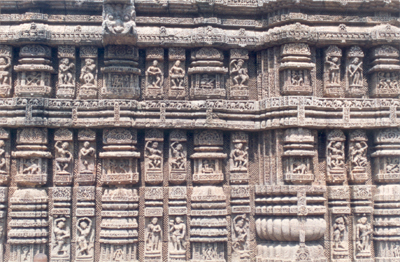 Panel on the dance hall, notice the intricate carvings and various Orissi dance poses