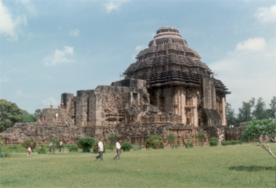 Side view of the temple from the rear side. Nearest airport to Konark is Bhubneshwar 65 kms away. The sunrise at Konark beach (3kms from the temple) is a feast for the eyes.