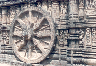 Wheel of the Chariot. Each of the wheels is 9 feet 8 inches in diameter, with rims 8 inches deep, axles protruding 11 inches and 16 spokes alternatively thick & thin.