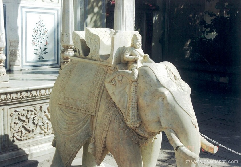 A closer look at beautifully carved elephant. Indians used elephants in war, be it King Porus around 326 B.C. or the Rajputs thereafter.