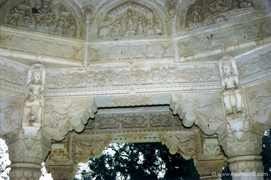 You see carvings of the chhatri of Sawai Jai Singh II, note the intricate carvings.