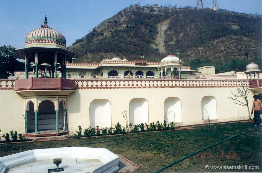 """This palace was built by Maharaja Sawai Jai Singh in 1710 a.d for accommodating his rani, a princess of Udaipur who wanted to live in a separate palace other than those in Amber. She was originally known as """"Sisodia Rani, therefore this beautiful existing"""