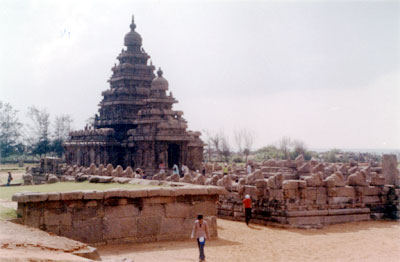 Another view. Note that the Siva temples are enclosed by double prakara walls with the row of Nandis on the wall of the inner prakara.
