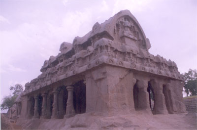 The second highest monolithic temple is Bhima Ratha. The sikhara is of the wagon-vault roof which carries a row of miniature stupis over its central ridge.