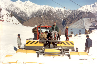 This machine was used to remove excess ice or level the ground for skiing