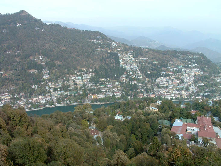A bird``s eye-view of the Nainital lake and the town from Tiffany Top