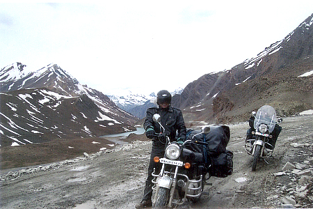 On the way to Barlacha Pass. The terrain is rough; the road is non existent at places, perfect for biking. I used an Enfield 500 (named Kali) and Emily used an Enfield 350 (named Gypsy Rani).