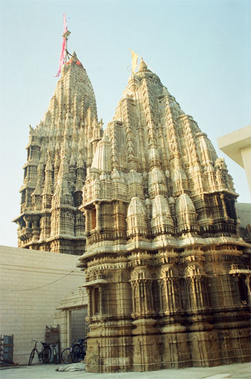 A rear view of the temple. In front is Pradumyna temple and behind is the main Shikhara.