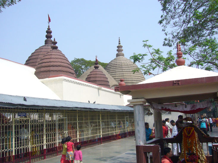 Another view of the temple. Besides Kamakhya Devi, there are images of Ganesha, Chamundeswari and various dancing sculptures. In the temple, an image of the King and related inscriptions are visible.