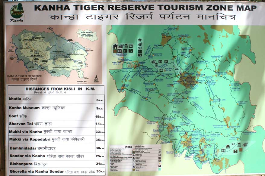 Map of the tourist zone in Kanha. Only 25% of the 1900 sq kms park is open to tourists.