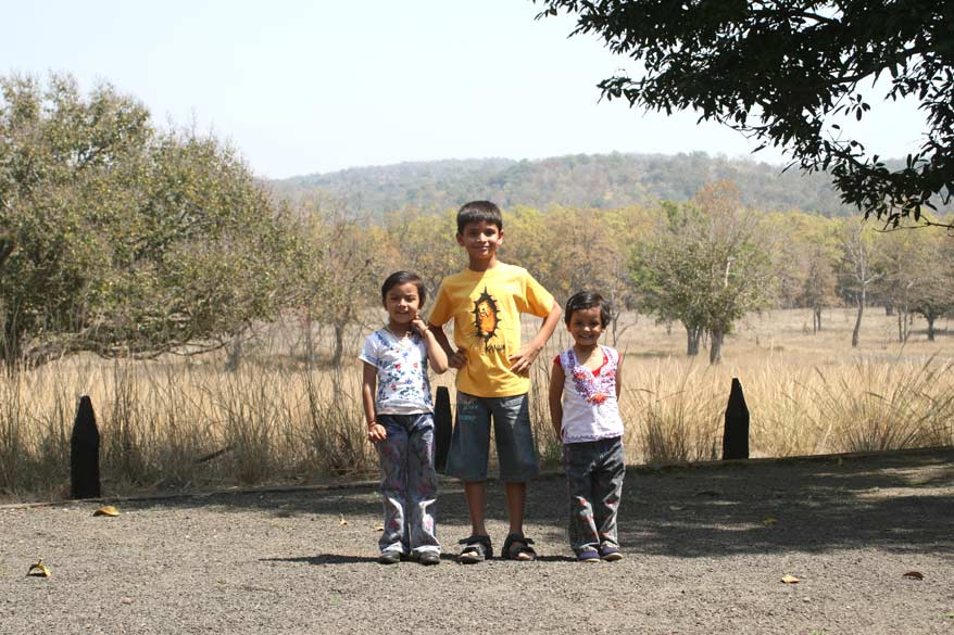 Neel and his friends from Kolkata enjoying the natural beauty at Kanha. The trio look very cute. Kanha is child-friendly. Neel has been going to Kanha since he was one. Now even the Tigers recognise him!