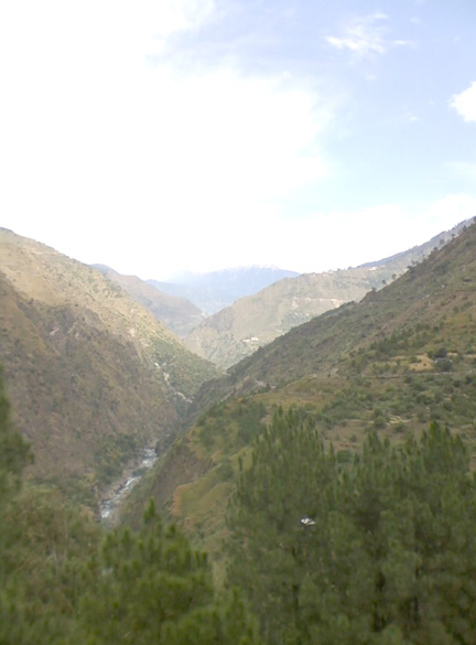 A view from the winding mountain road, of the deep Sutluj River gorge, past Shimla and Rampur in eastern Himachal Pradesh.