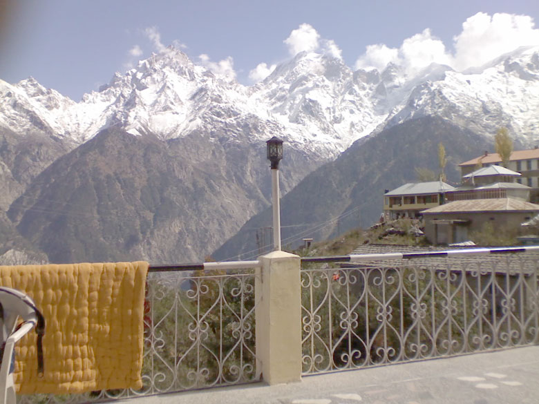 Another part of Kalpa, literally in the lap of the great mountains. Blissful vision from the open air patio of a hotel.