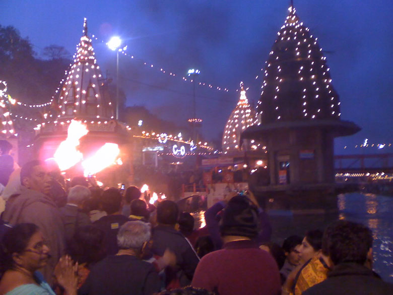 Sacred Ghat of Hari-ki-Pauri was constructed by King Vikramaditya in memory of his brother Bhartrihari. It is believed that Bhartrihari meditated here on the banks of the Holy Ganga. After he died his brother the King constructed the ghat in his name and memory. You see the flames at Aarti being performed at the main Har-ki-Pauri ghat.