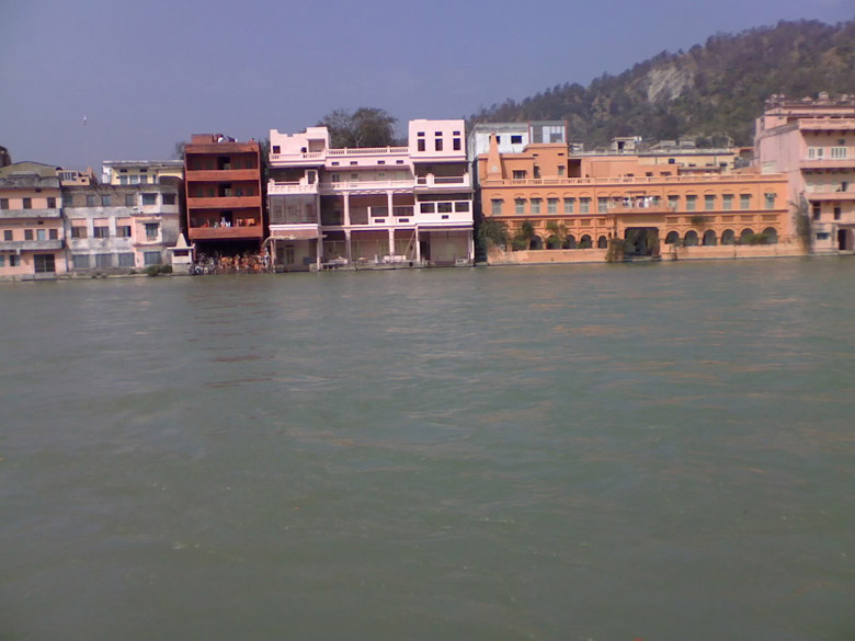You see ashrams on the waterfront in Haridwar.