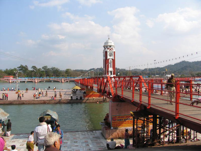 Another view of the Ganga in Haridwar. The bridge takes you across the Ganga canal.