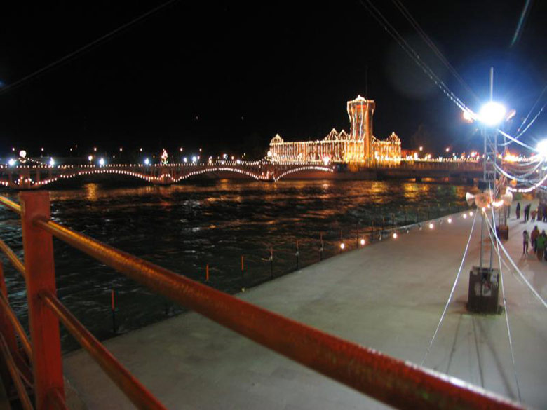 A night view of the Ganga. The festival is visited by Sadhu groups from all over India.