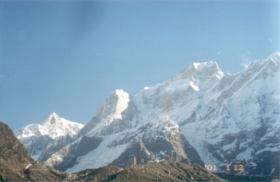A view of the Kedar peaks in the morning sun