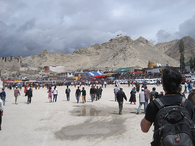"The Polo Grounds was the venue of the inaguration ceremony of the Annual Ladakh Festival. One can see the imposing hills with the old ruins of the castle, supervising the ""goings on"" at the Polo Grounds"