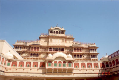 This is the Maharaja's current residence, forms part of the City Palace. The flag that you see on the top indicates that the Maharaja is in Jaipur.