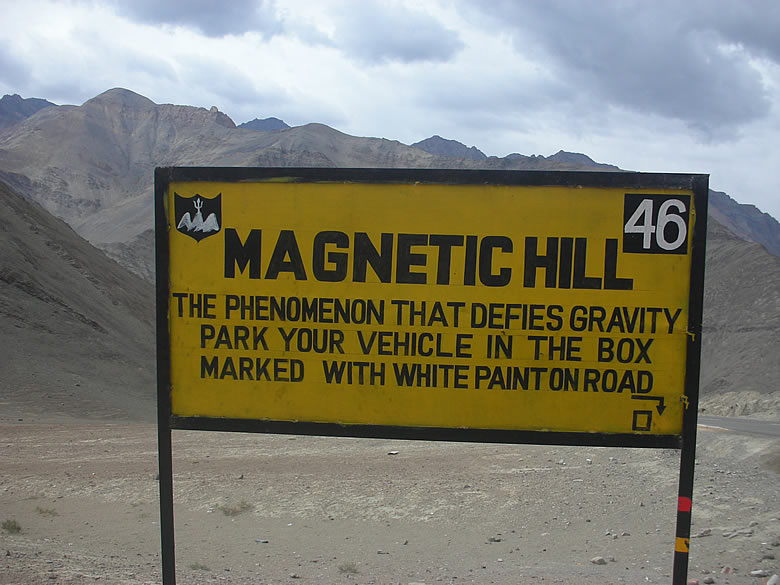 The world famous MAGNETIC HILL. We actually tried what was written on the board. The car definitely moved on its own. This place is about 5-7 Kms away from Nimu and about 30 kms away from Leh