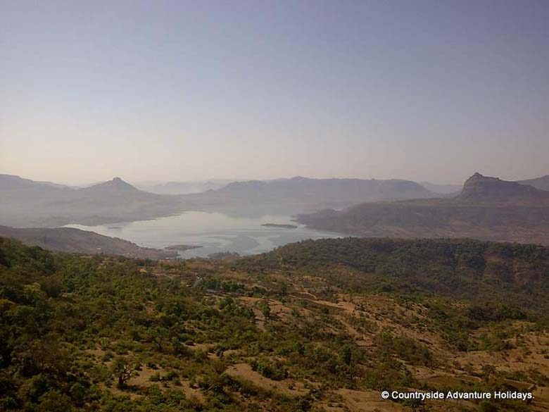 Clicked from top of fort you see Pauna Dam. On left of picture is Tikona Fort and on extreme right is Tung Fort.