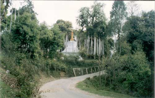 A pagoda surrounded by prayer flags en-route to Yuksom.