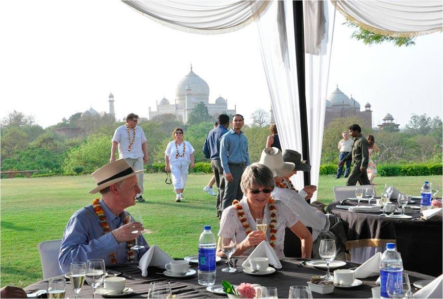 Champagne breakfast overlooking Taj Mahal.