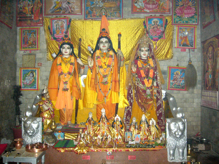 Our next step was the Vanvasi Ram Mandir. You can see an icon of Shri Ram & Sitaji with Laxman. It is only when we visited Chitrakoot did we realize the fervor with which Shri Ram is worshipped there.