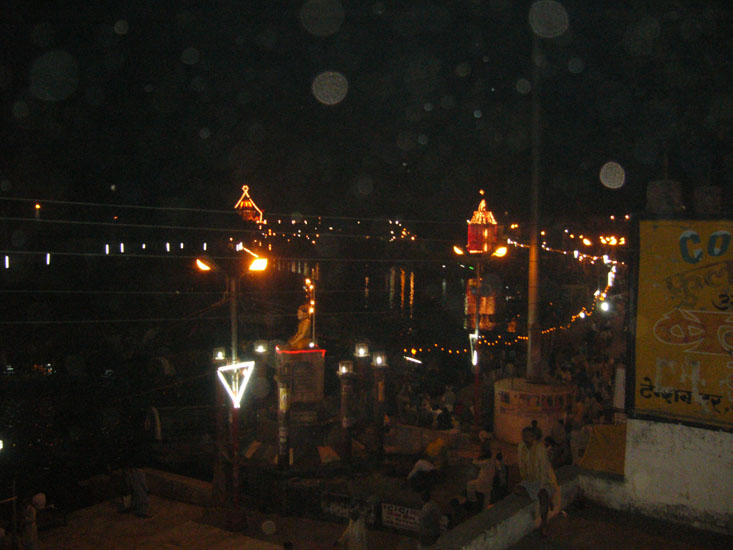 From the Bharat Mandir we took this picture. You can see an icon of Tulsidasji in the centre with the Ram Ghat in the background.