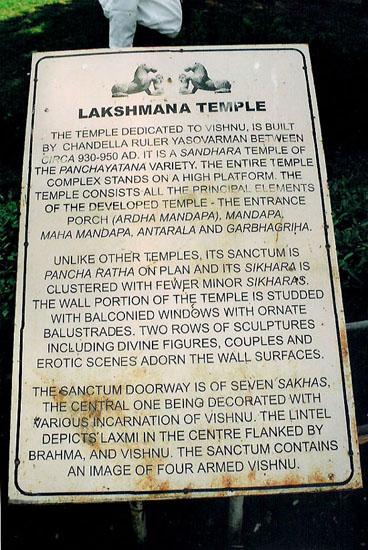 Board outside temple. Dedicated to Lord Vishnu made between 930-950 AD.