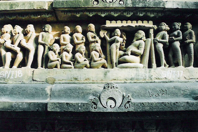Lower panel of temple. You see a Rishi on right.