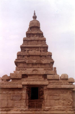 Rear side meaning west entrance to the large temple. The temple s vimana is four tiered with octagonal sikhara. It is important to note that stupis of both these temples are not covered by kalasa (copper finials).