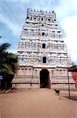 Kumbakonam is a city full of temples. This is the entrance to the Sri Nagnathaswamy Temple, Thirunageswaran. Called Sri Raghu abode it is about 30 minutes drive from Kumbakonam.