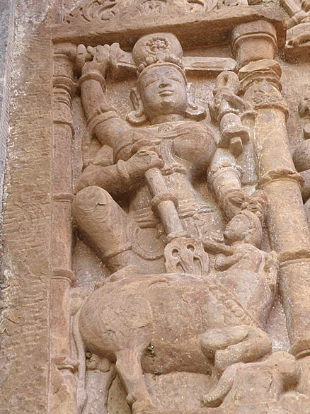 This is called Mahisasur Mardini which means Mother Goddess killing the buffalo. The asura had assumed the rup (role) of a buffalo.