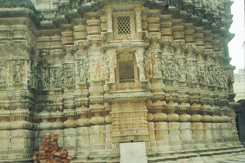 A view of the lower portion of the temple, note the carvings. Extensive maintenance work was going on there.