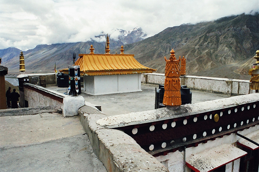 Atop the Ki Monastery, note the Trishuls found here as well in a monastery at Mansrovar. Tibetans worship the abode of Lord Shiva, Mount Kailash, with greater fervor than we do.