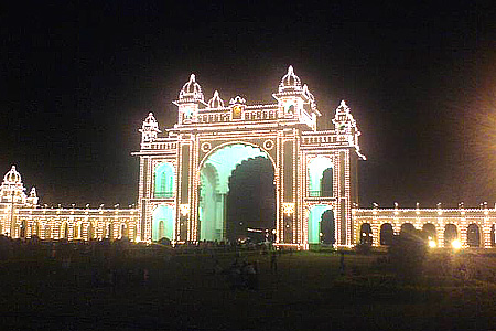 Mysore Palace lit up during Dushhera