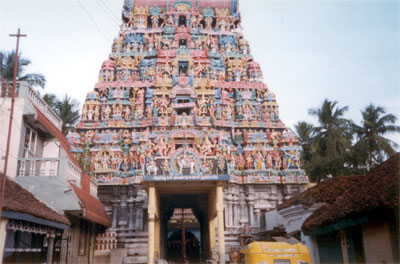 Entrance to the Ramaswamy Temple, located close to the Mahamanglam Tank, dedicated to Lord Vishnu.