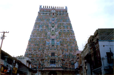 Gopuram of the Sarangapani Temple. This is a huge and very impressive temple complex dedicated to Lord Vishnu. A must see. Has huge inner hall with well carved pillars.